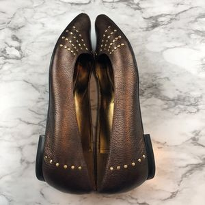 Enzo Angiolini Shoes - Enzo Angiolini Studded Copper Brown Leather Flats